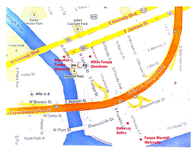 Map depicting hotels near Tampa court reporter, Richard Lee Reporting